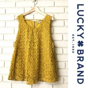 Lucky Brand Crocheted Mustard Tank Top Size S